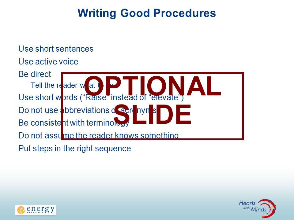 Writing Good Procedures