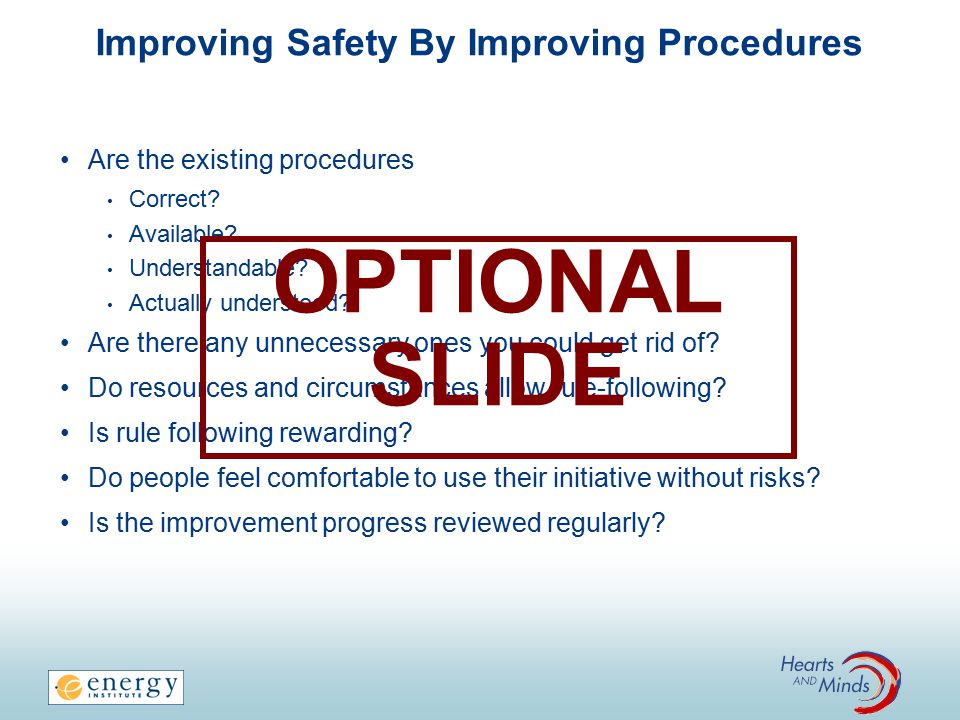 Improving Safety By Improving Procedures