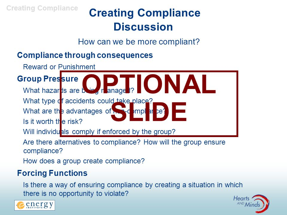 Creating Compliance Discussion