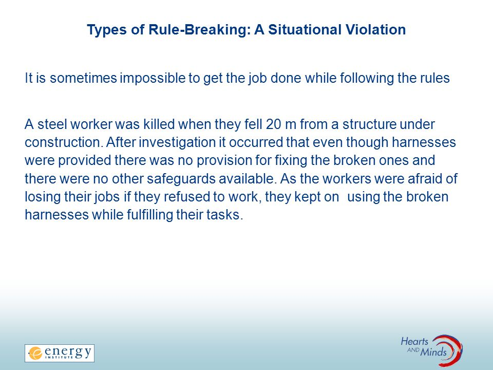 Types of Rule-Breaking: A Situational Violation