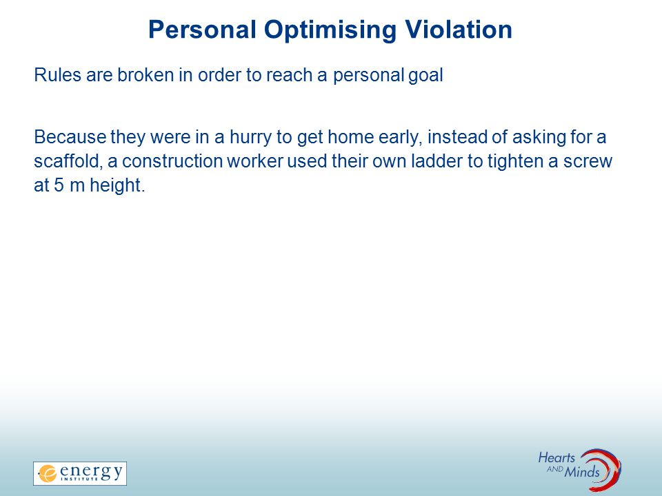 Personal Optimising Violation