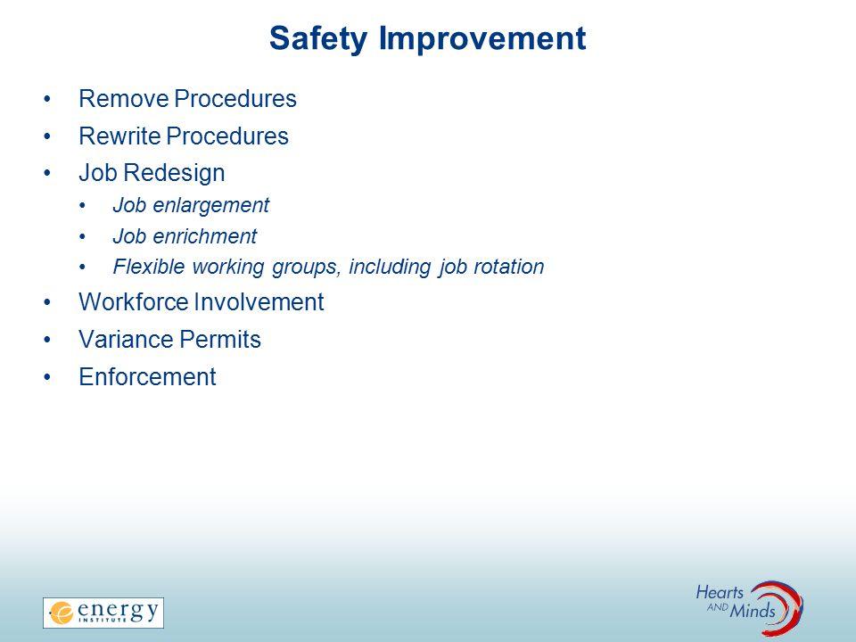 Safety Improvement Remove Procedures Rewrite Procedures Job Redesign