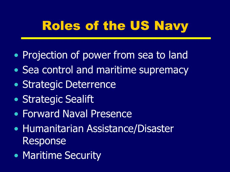 Roles of the US Navy Projection of power from sea to land