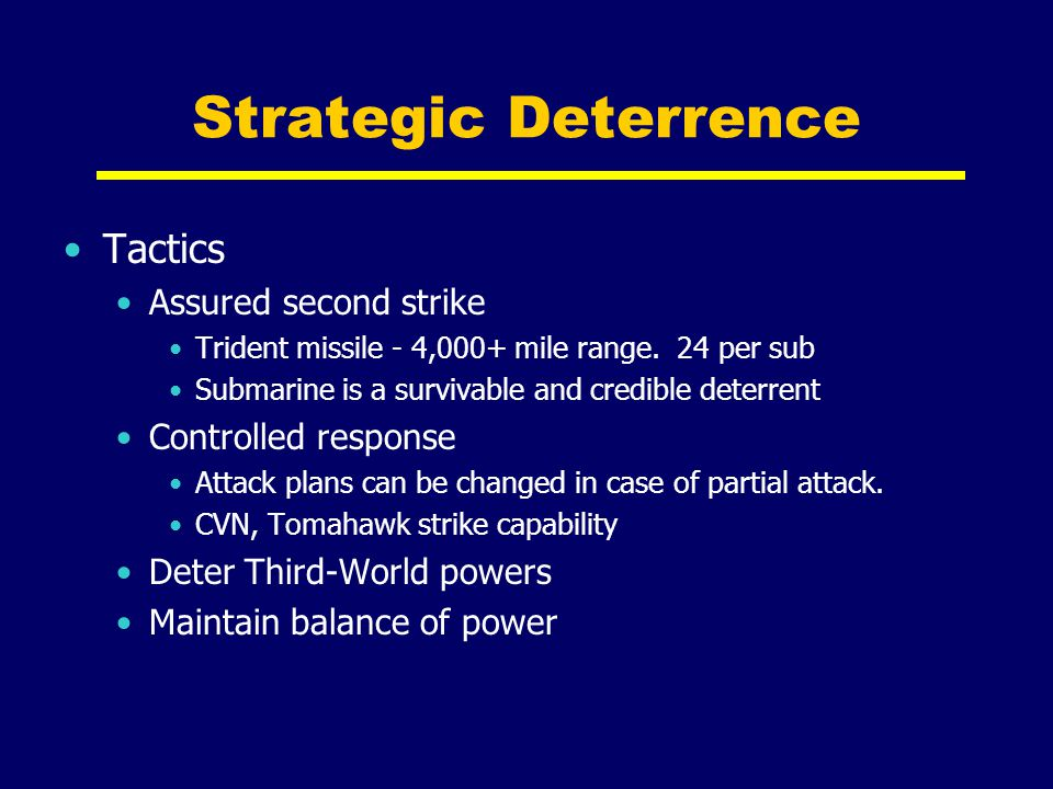 Strategic Deterrence Tactics Assured second strike Controlled response