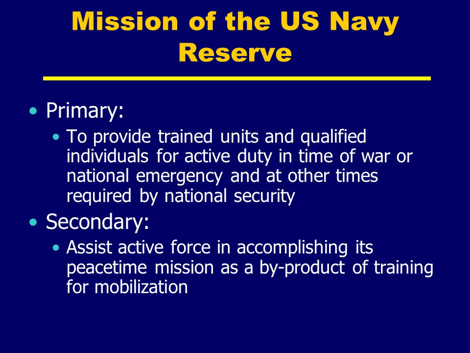 Mission of the US Navy Reserve
