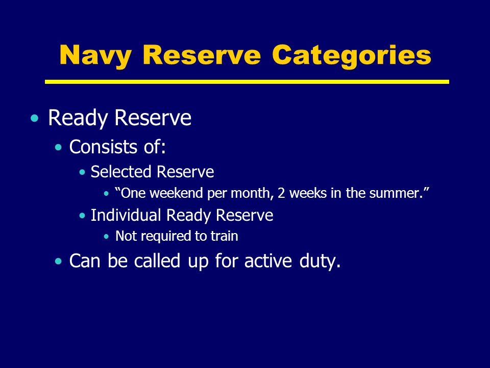 Navy Reserve Categories