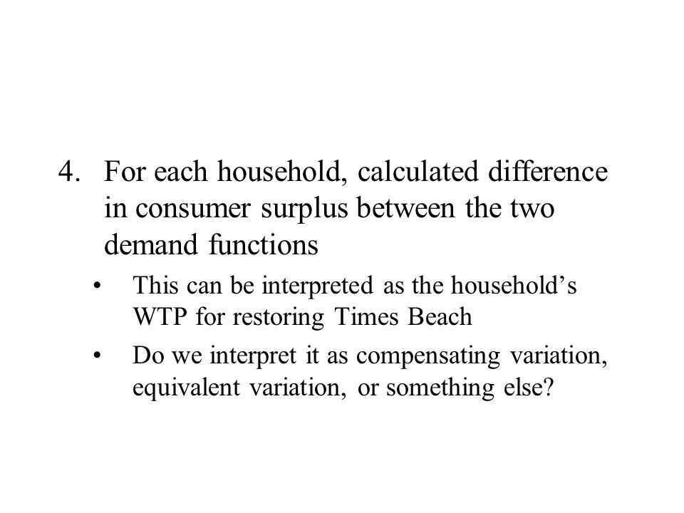 For each household, calculated difference in consumer surplus between the two demand functions