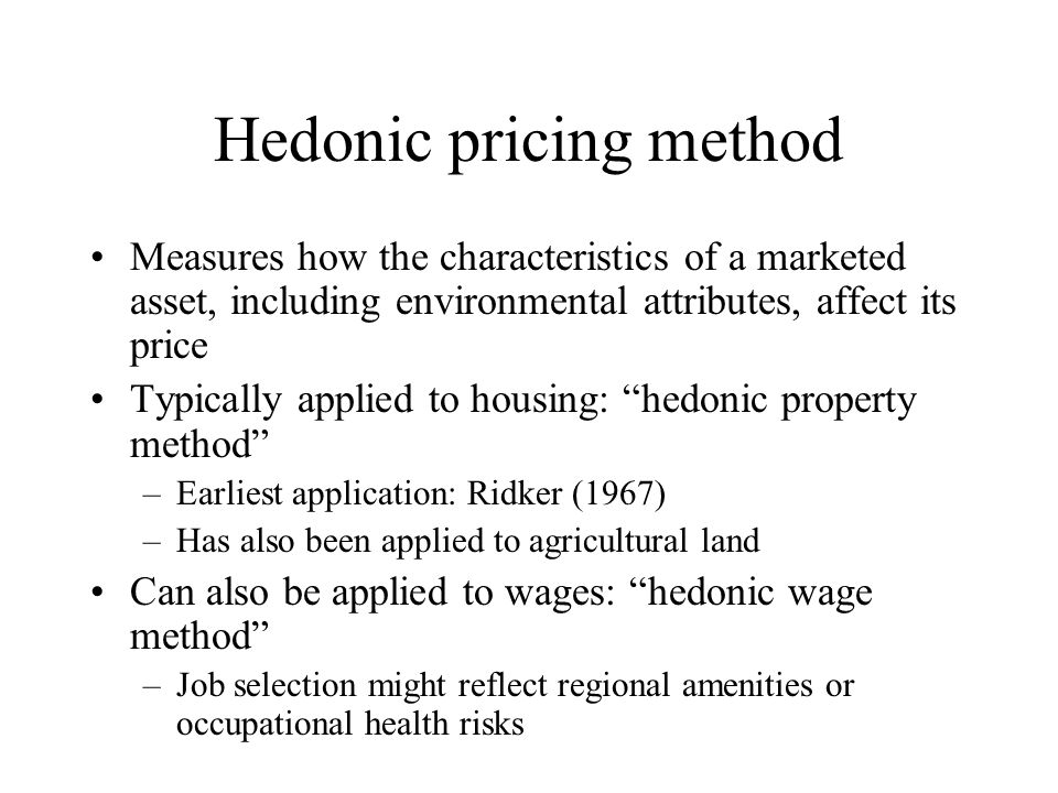 Hedonic pricing method
