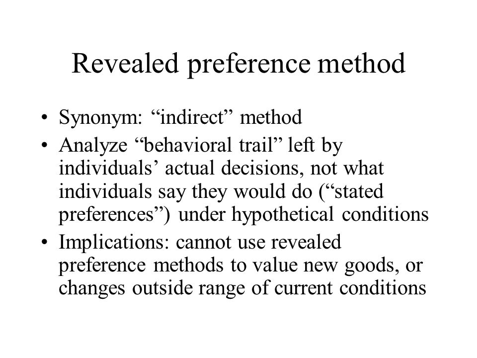 Revealed preference method