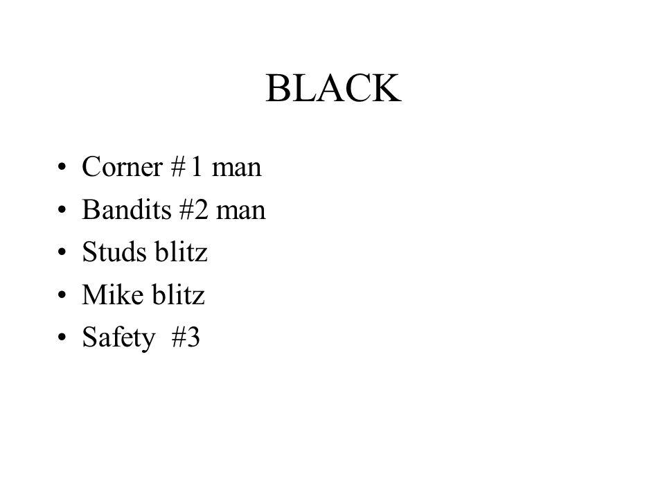 BLACK Corner # 1 man Bandits #2 man Studs blitz Mike blitz Safety #3
