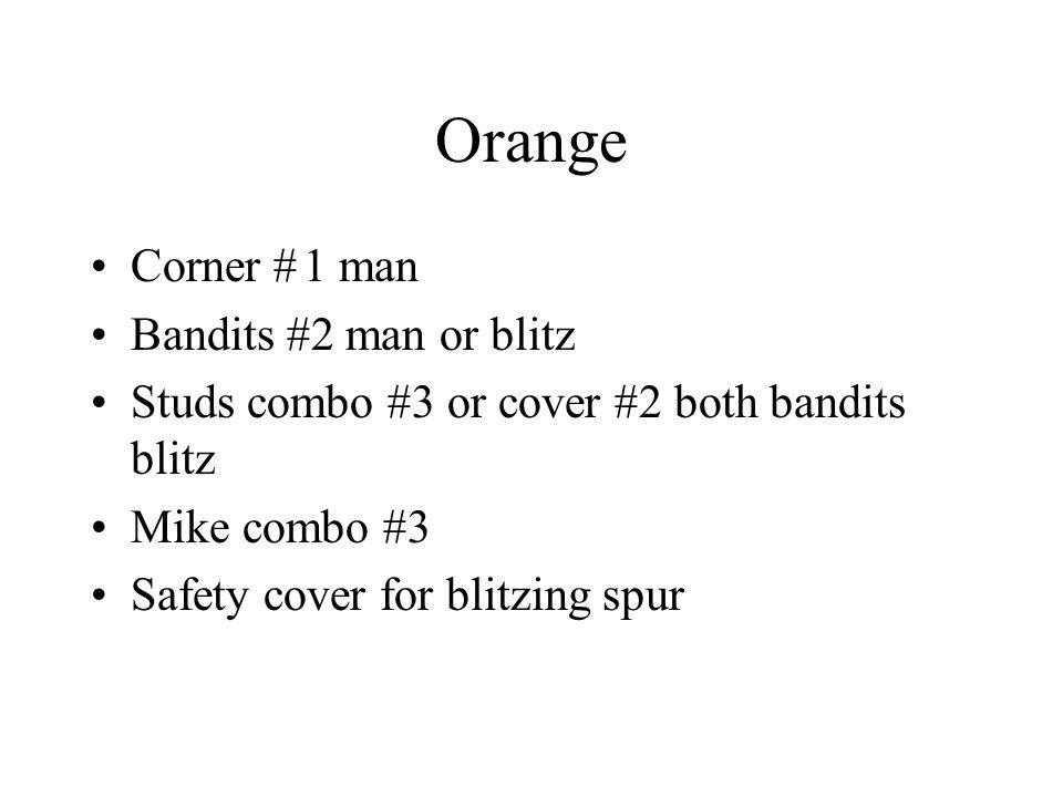 Orange Corner # 1 man Bandits #2 man or blitz