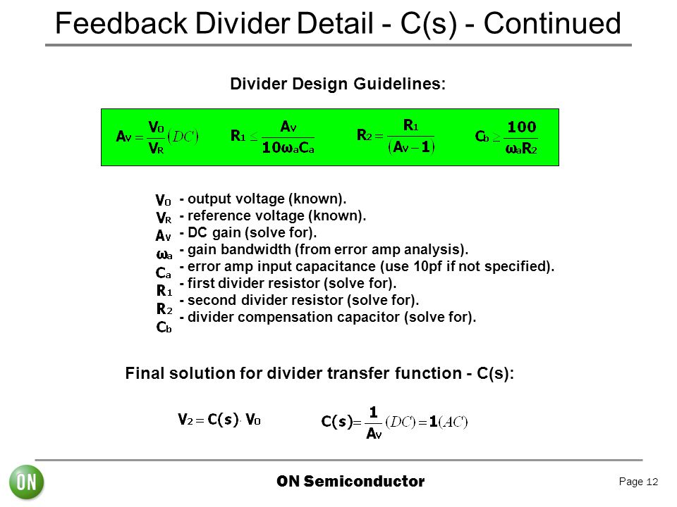 Feedback Divider Detail - C(s) - Continued