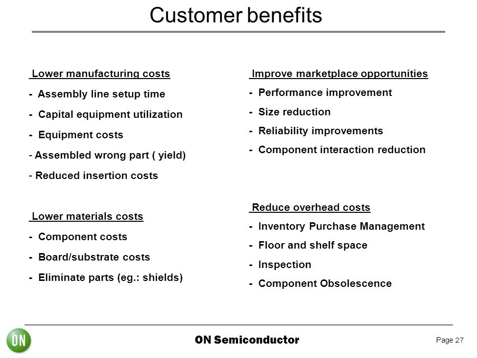 Customer benefits Lower manufacturing costs - Assembly line setup time