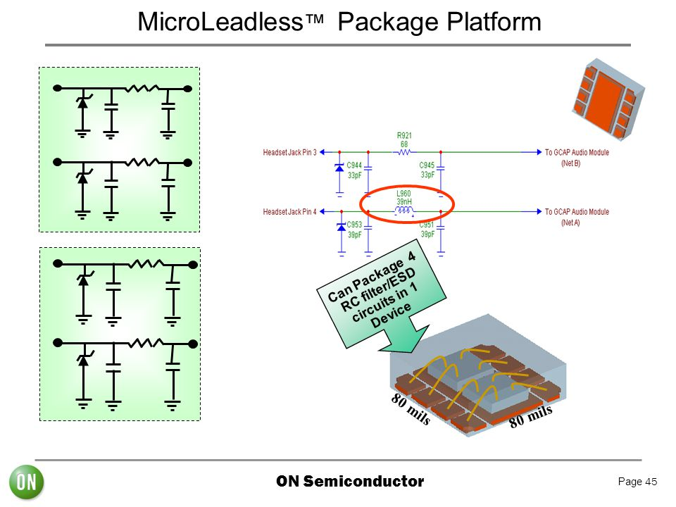 Can Package 4 RC filter/ESD circuits in 1 Device
