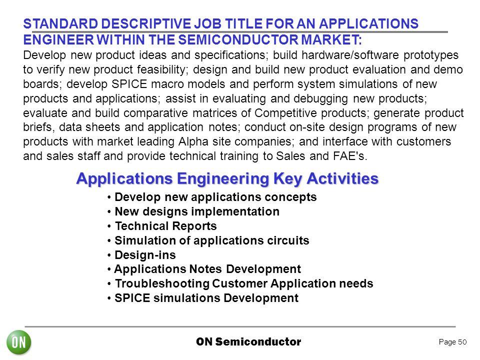 Applications Engineering Key Activities