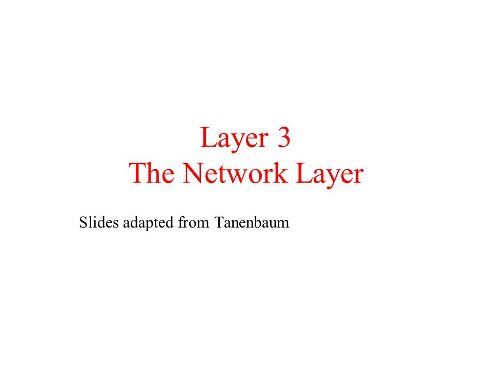 Layer 3 The Network Layer
