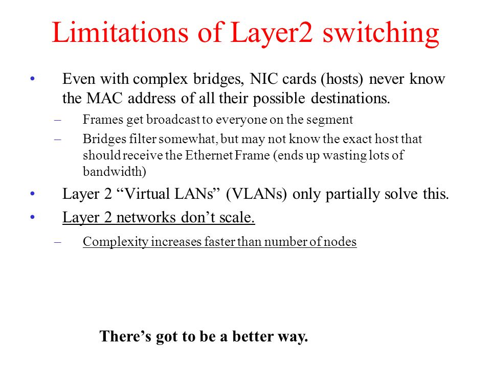 Limitations of Layer2 switching