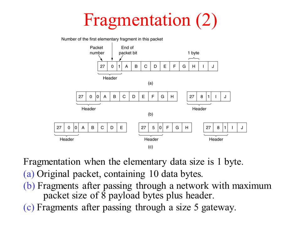 Fragmentation (2) Fragmentation when the elementary data size is 1 byte. (a) Original packet, containing 10 data bytes.