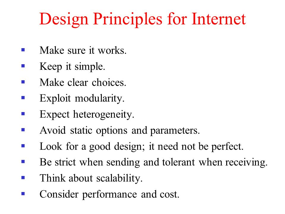 Design Principles for Internet
