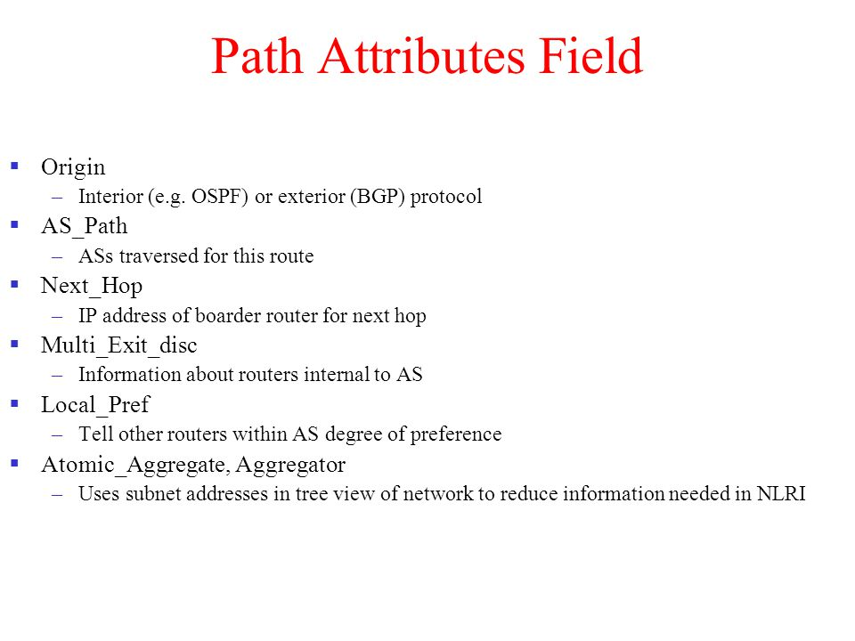 Path Attributes Field Origin AS_Path Next_Hop Multi_Exit_disc