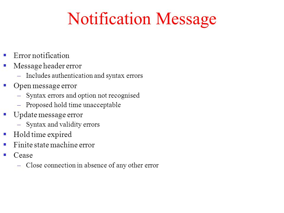 Notification Message Error notification Message header error