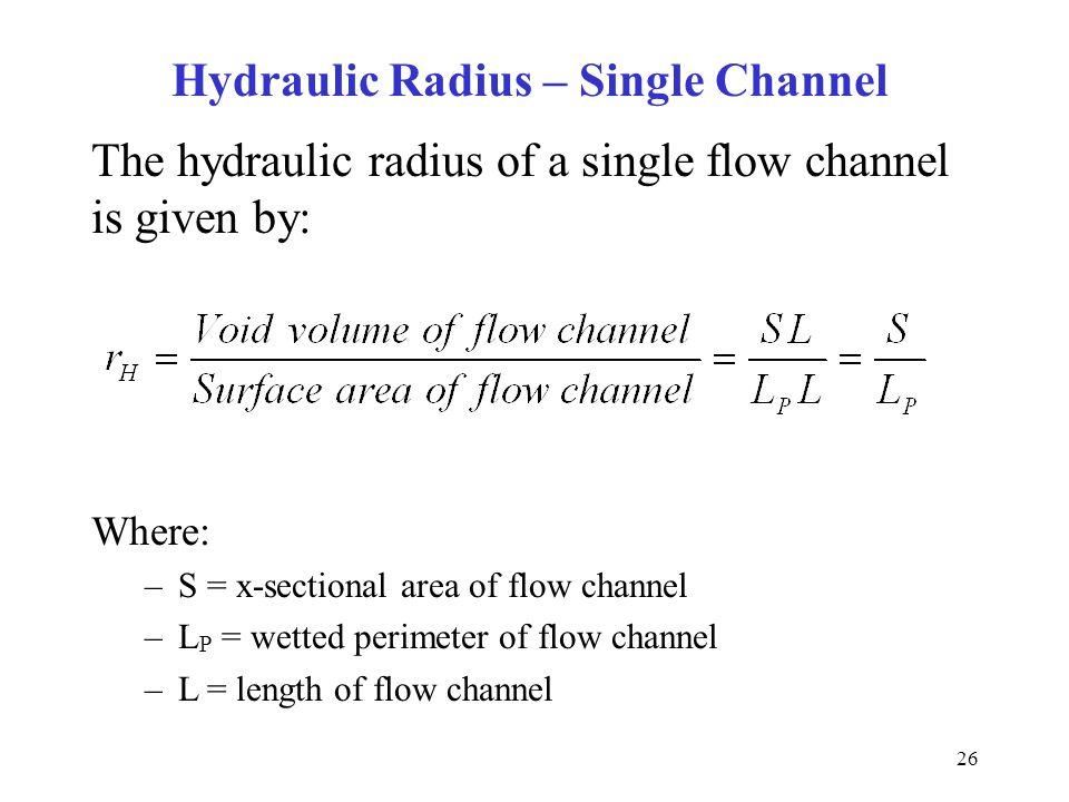 Hydraulic Radius – Single Channel