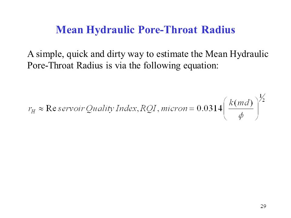 Mean Hydraulic Pore-Throat Radius