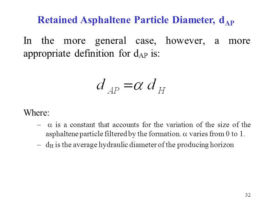 Retained Asphaltene Particle Diameter, dAP