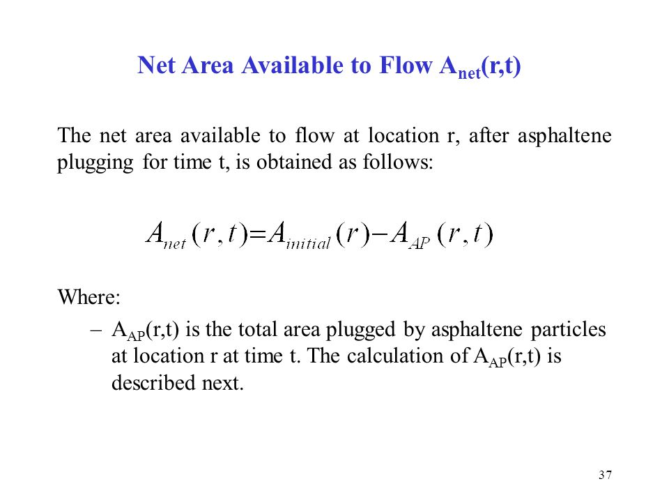 Net Area Available to Flow Anet(r,t)