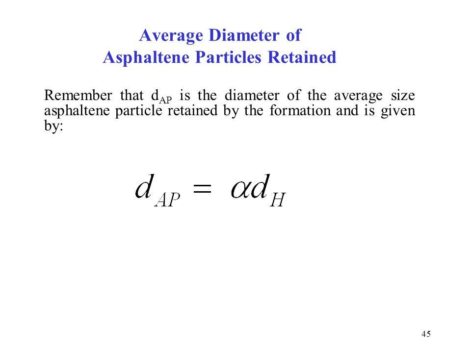 Average Diameter of Asphaltene Particles Retained
