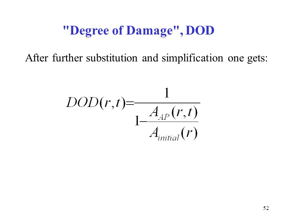 Degree of Damage , DOD After further substitution and simplification one gets: