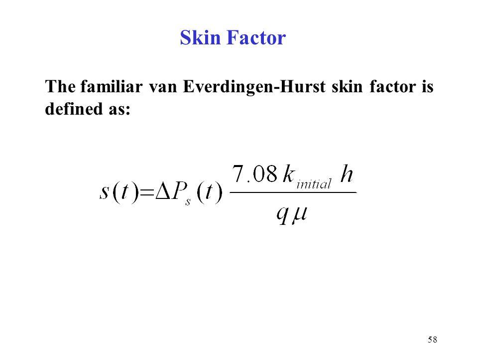 Skin Factor The familiar van Everdingen-Hurst skin factor is defined as: