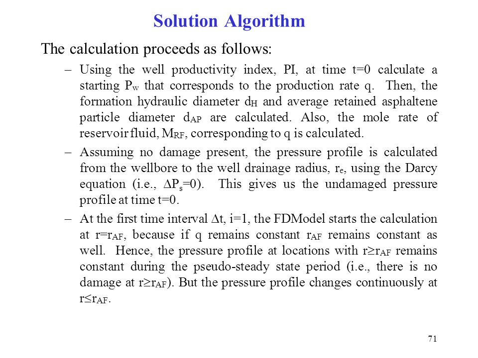 Solution Algorithm The calculation proceeds as follows: