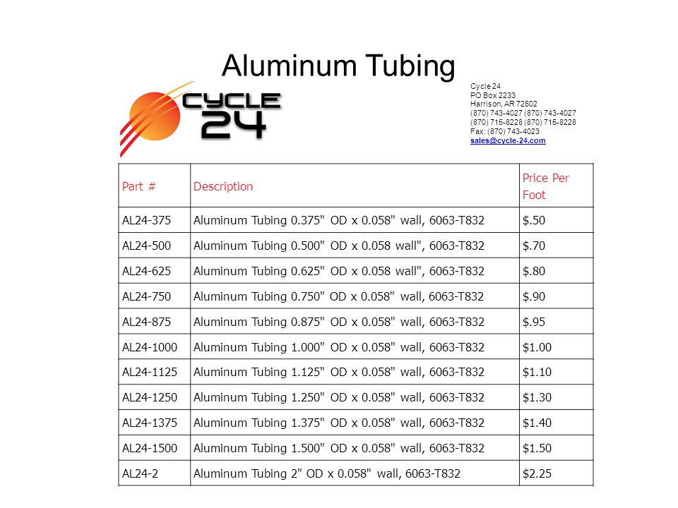 Aluminum Tubing Part # Description Price Per Foot AL24-375