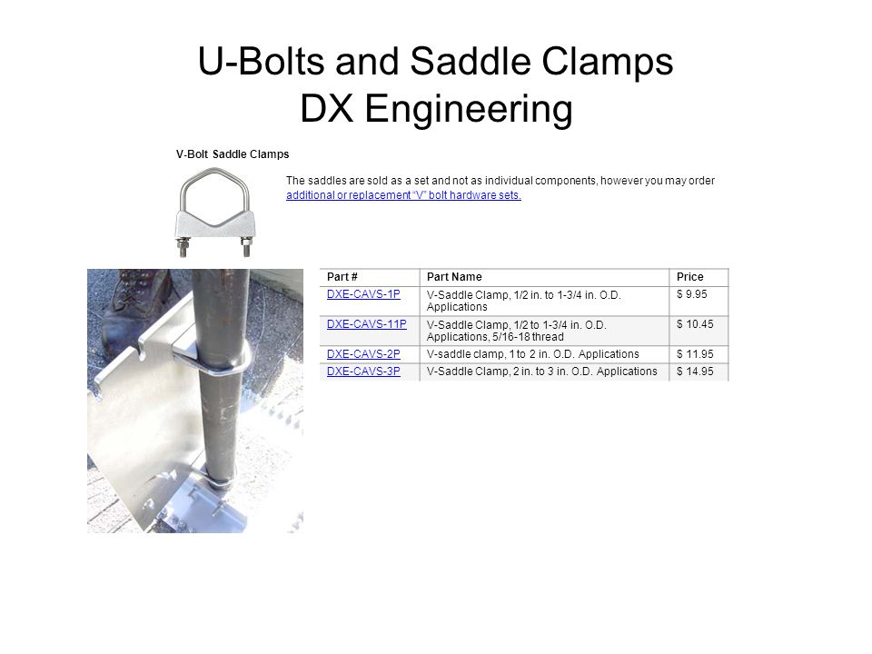 U-Bolts and Saddle Clamps DX Engineering