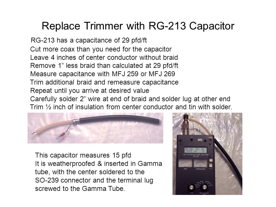 Replace Trimmer with RG-213 Capacitor