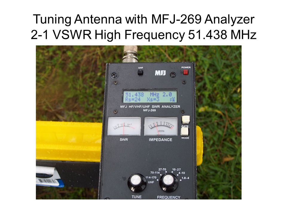 Tuning Antenna with MFJ-269 Analyzer 2-1 VSWR High Frequency 51