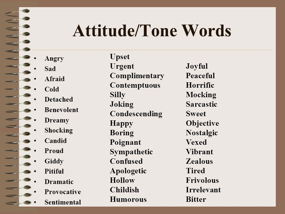 Attitude/Tone Words Upset Urgent Complimentary Contemptuous Silly