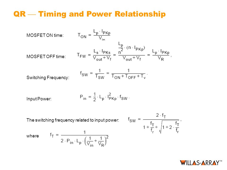 QR  Timing and Power Relationship