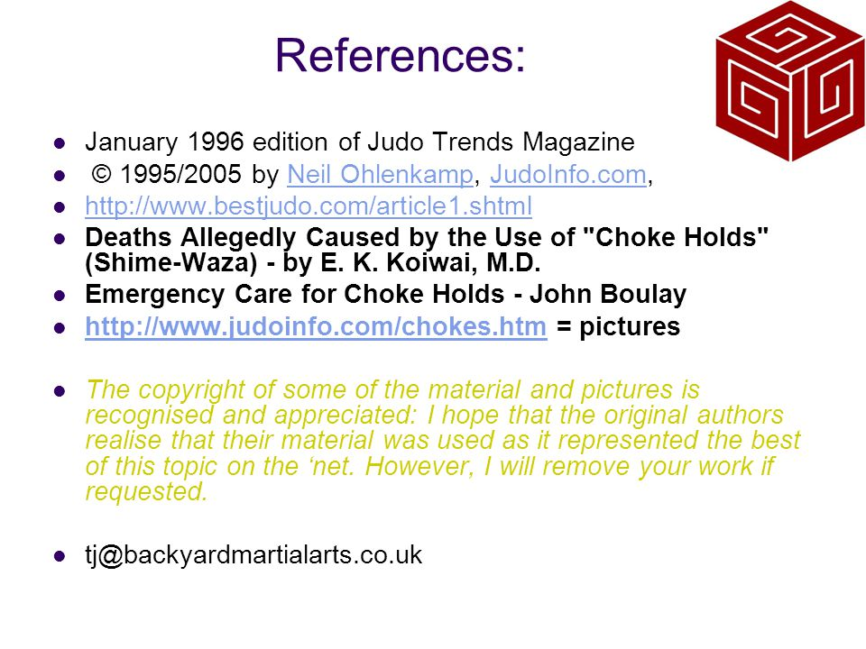 References: January 1996 edition of Judo Trends Magazine