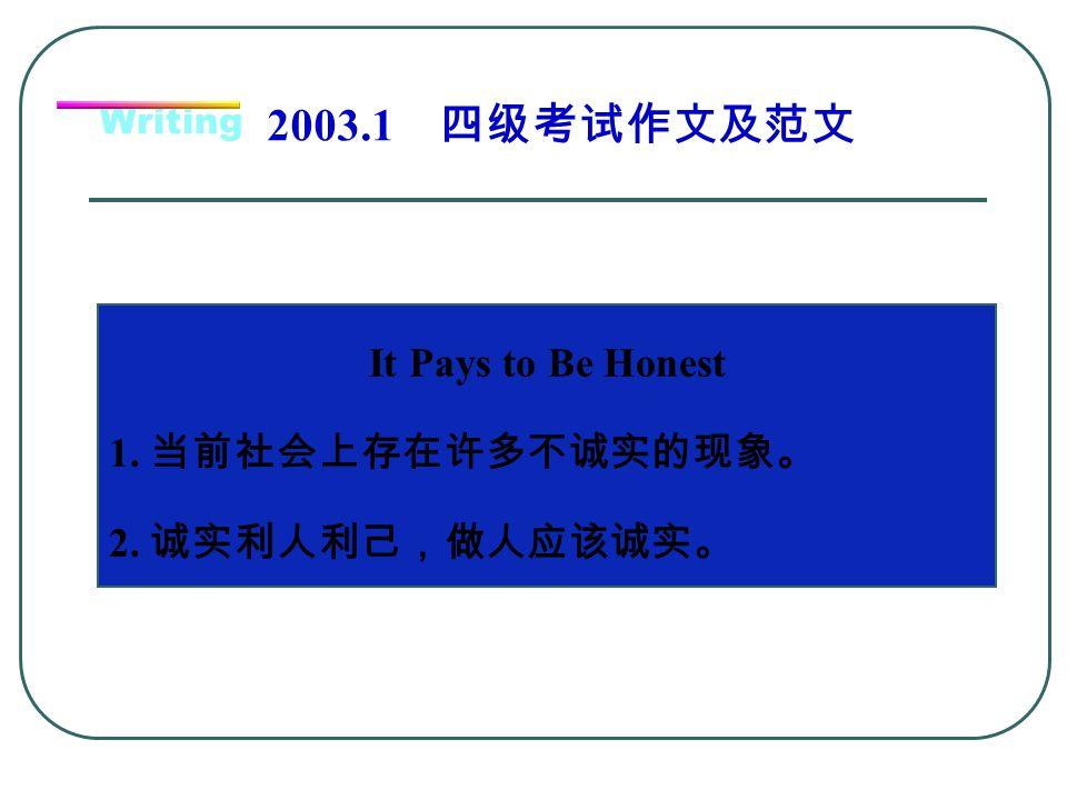 2003.1 四级考试作文及范文 It Pays to Be Honest 1. 当前社会上存在许多不诚实的现象。