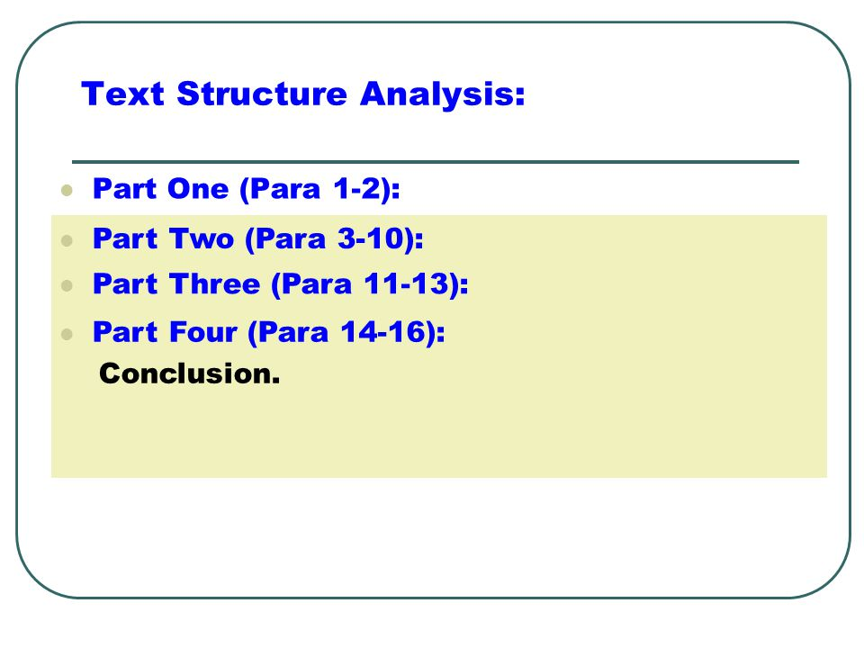 Text Structure Analysis: