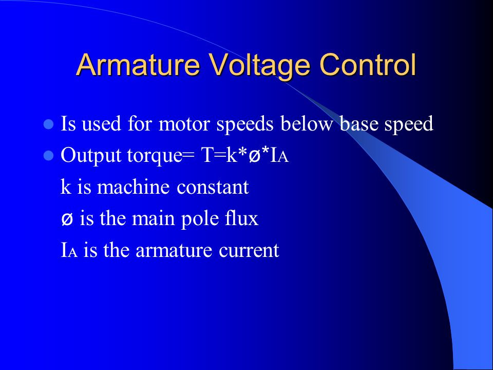 Armature Voltage Control