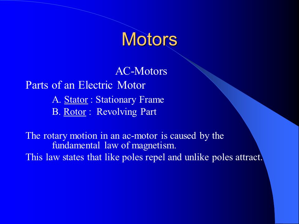 Motors AC-Motors Parts of an Electric Motor
