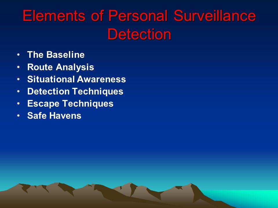 Elements of Personal Surveillance Detection