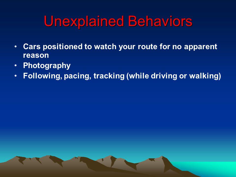 Unexplained Behaviors