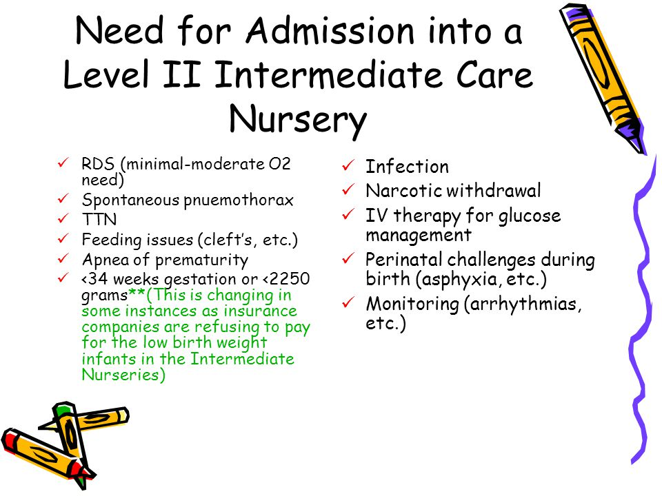 Need for Admission into a Level II Intermediate Care Nursery