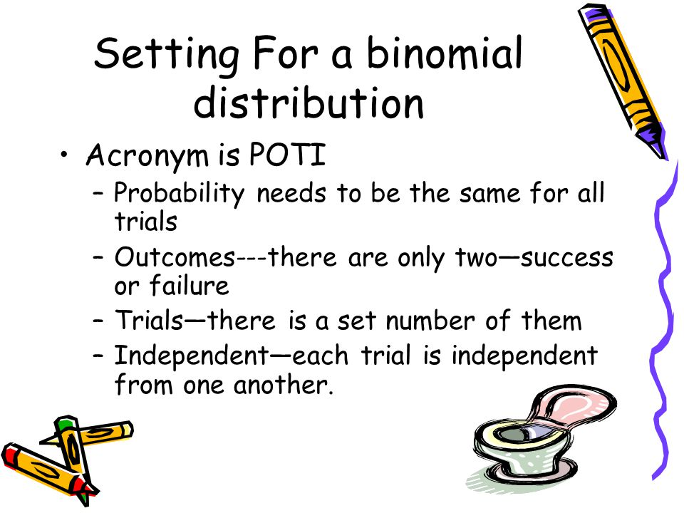 Setting For a binomial distribution