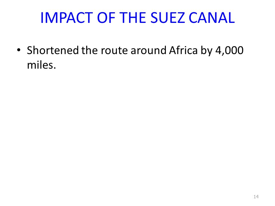 IMPACT OF THE SUEZ CANAL