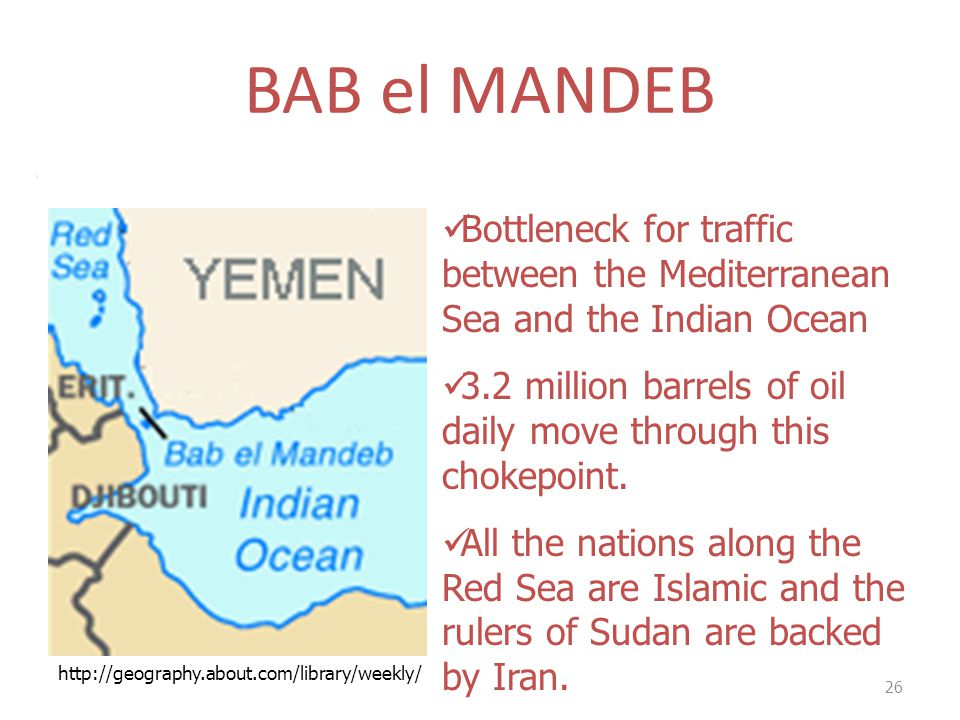 BAB el MANDEB . Bottleneck for traffic between the Mediterranean Sea and the Indian Ocean.